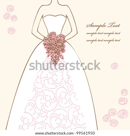 Wedding dress doodle for Wedding invitations or announcements