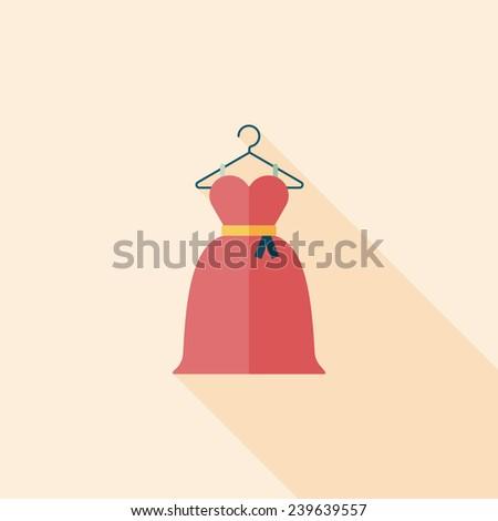 wedding dress flat icon with long shadow,eps10