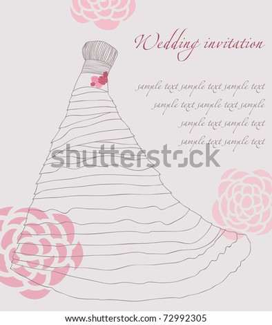 Wedding dress invitation card