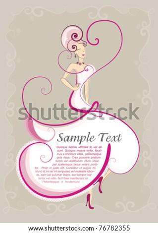 Wedding dress invitation card : Vector file of elegant bride