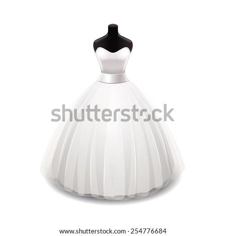 wedding dress isolated on white