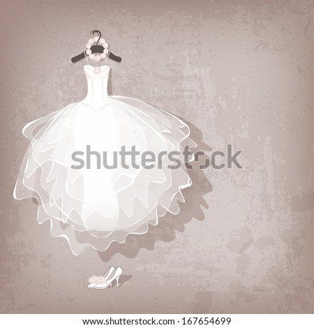 wedding dress on grungy