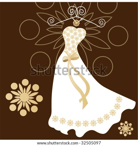 stock vector wedding dress with hanger and beading