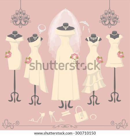wedding dresses on mannequin
