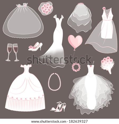 wedding dresses set   vector