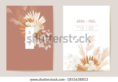 Wedding dried lunaria, orchid, pampas grass floral vector card. Exotic dried flowers, palm leaves boho invitation. Watercolor template frame. Save the Date foliage cover, modern poster, trendy design
