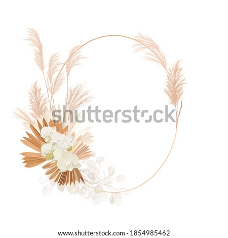Wedding dried lunaria, orchid, pampas grass floral wreath. Vector Exotic dried flowers, palm leaves boho invitation card. Watercolor template frame, foliage decoration, modern poster, trendy design