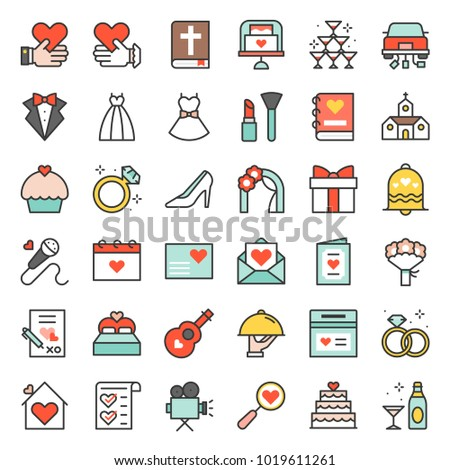 wedding elements filled outline icon, such as wedding dress, champagne, flower bouquet, cup cake, music, diamond ring
