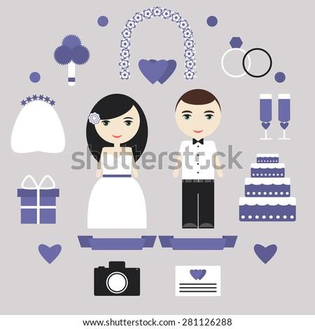 wedding elements set bride
