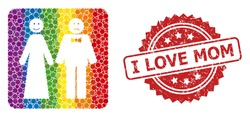 Wedding emotions collage icon of filled circle dots in different sizes and LGBT colored color hues, and I Love Mom dirty rosette stamp seal. A dotted LGBT-colored Wedding emotions for lesbians, gays,