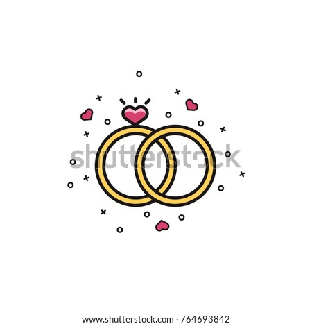 Wedding, engagement rings with heart shaped gemstone - flat color line icon on isolated background. Marriage jewelry symbol in colorful outline design.