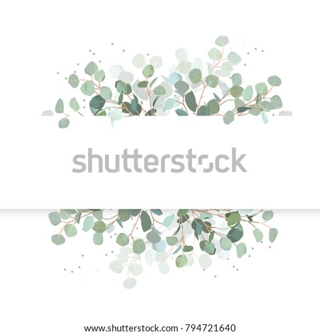 Wedding eucalyptus horizontal vector design banner. Rustic greenery. Mint, blue tones. Watercolor style collection. Mediterranean tree. All elements are isolated and editable