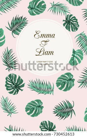 Wedding event invitation card template. Exotic tropic jungle rainforest bright green palm tree and monstera leaves floating on pink background. Text placeholder in white circle. Portrait aspect ratio. #730452613