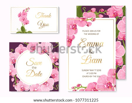 Wedding event invitation save the date RSVP thank you card template set. Pink purple exotic orchid phalaenopsis flowers. Shiny golden text title placeholder. White and violet background. #1077311225