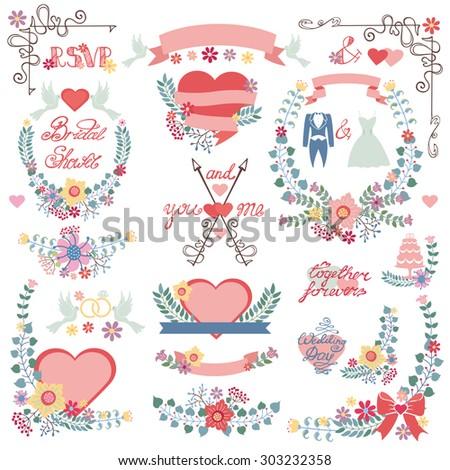 wedding floral decorationpink heartsribbonscolored flowersflat icons swirling