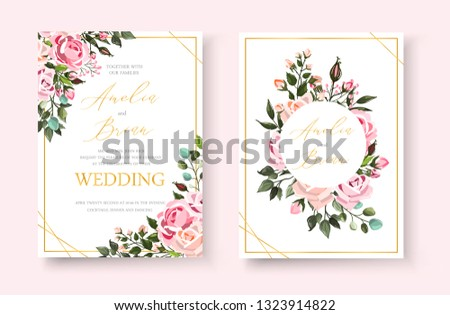 Wedding floral golden invitation card save the date design with pink flowers roses and green leaves wreath and frame. Botanical elegant decorative vector template in watercolor style #1323914822