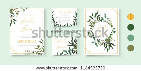 Wedding floral golden invitation card save the date rsvp design with green tropical leaf herbs eucalyptus wreath and frame. Botanical elegant decorative vector template watercolor style #1164595750