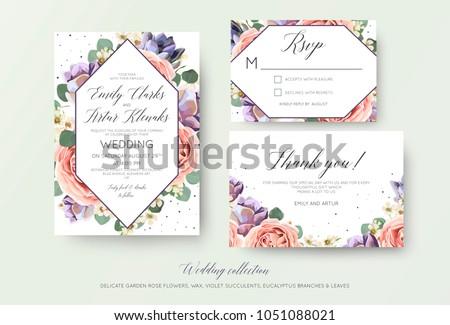 Wedding floral invitation, rsvp, thank you card elegant botanical design with lavender pink garden rose flowers, violet succulents, eucalyptus leaves & geometrical frame. Beautiful modern template set #1051088021