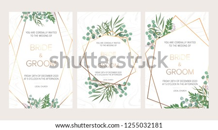 Wedding floral invitation, thank you modern card: rosemary, eucalyptus branches on white marble texture with a golden geometric pattern. Elegant rustic template. All elements are isolated and editable #1255032181