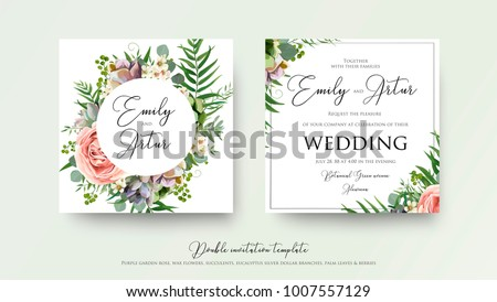 Wedding floral invite invitation card Design with lavender pink violet garden rose, green tropical palm leaf greenery eucalyptus branches decoration. Vector elegant watercolor rustic cute template set
