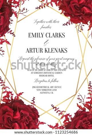 Wedding floral invite, invtation card design. Watercolor marsala red garden rose blossom, amaranthus flower, burgundy seeds, geometrical golden decorative frame. Vector elegant bohemian style template
