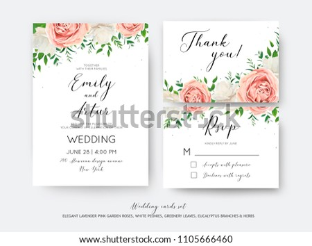 Wedding floral invite, RSVP, thank you card vector design set with creamy white garden peony flowers blush pink roses, green leaves, greenery herbs, eucalyptus branch decoration. Romantic illustration #1105666460