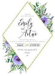 Wedding floral invite, save the date card. Watercolor lavender blossom, violet anemone flowers, forest greenery fern, eucalyptus leaves & rhombus golden geometrical frame decor. Elegant, vector design