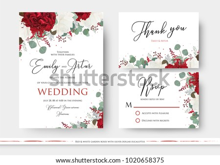 Wedding floral invite, save the date, thank you, rsvp card design with red and white garden rose flowers, seeded eucalyptus branches, green leaves, amaranthus delicate decor. Vector art templates set  #1020658375