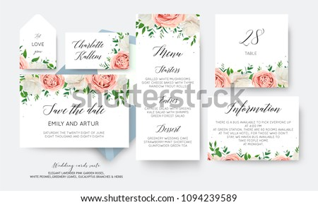 Wedding floral save the date, menu, label, table number card big vector design with creamy white garden peony flowers blush pink roses, eucalyptus green leaves, greenery herbs decoration. Romantic set #1094239589