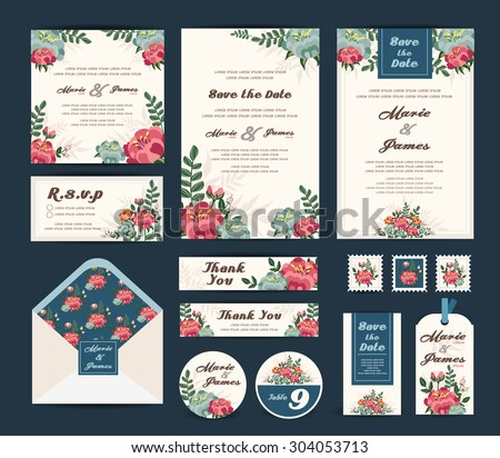 Wedding floral template collection.Wedding invitation,