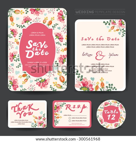 Wedding floral template collection.Wedding invitation, thank you card, save the date cards. Wedding set. #300561968