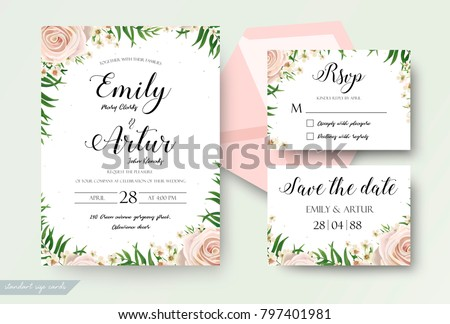 Wedding floral watercolor style invite, rsvp save the date thank you card Design with creamy white garden rose, wax flowers, green tropical palm tree leaves greenery decor. Vector elegant template set #797401981