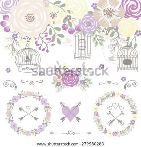 Wedding flower / Bird cage / flower wreath / Purple flower / Yellow flower