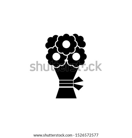 Wedding Flower Bouquet. Flat Vector Icon illustration. Simple black symbol on white background. Wedding Flower Bouquet sign design template for web and mobile UI element stock photo