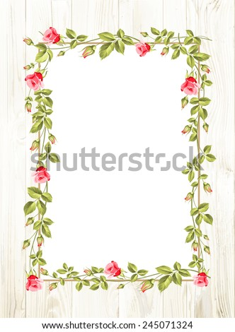 Wedding flower frame with flowers over white. Vector illustration.