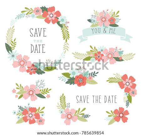 frame design flower. wedding flowers vector collection. floral design elements including wreath frame, ribbons, bouquets frame flower