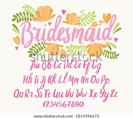 Wedding font. Typography alphabet with colorful romantic illustrations. Handwritten script for party celebration and crafty design. Vector with hand-drawn lettering.