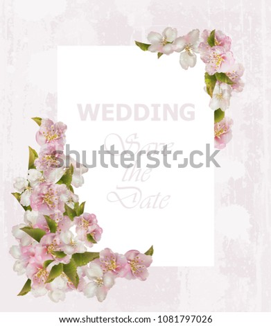 Wedding frame card with cherry flowers. Vector delicate postcards #1081797026