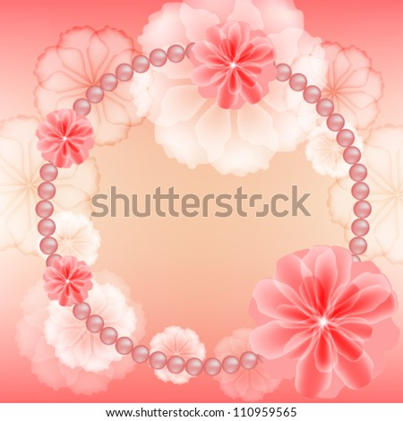 Wedding frame with flowers and beads