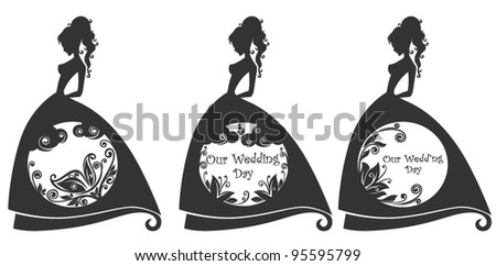 wedding graphic image with beautiful girls silhouette