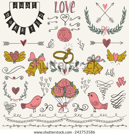 Wedding graphic set, arrows, hearts, birds, bells, rings, laurel, wreaths, ribbons and labels.Collection of vector wedding design elements. Decorative set of holiday objects and signs.