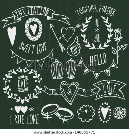Wedding graphic set: arrows, hearts, laurel, wreaths, ribbons,wings, cages, flowers, hand drawn letters and labels.