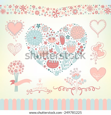 wedding graphic set with flowers hearts ribbons use for wedding