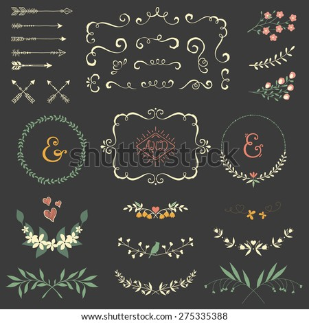 Wedding graphic set with swirls,  arrows, laurels, wreaths, branches, bird,  hearts and ampersands.