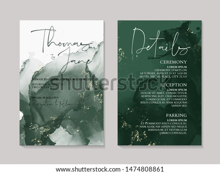 Wedding green luxury invitation cards with gold  marble texture background and Abstract emerald style vector design template.