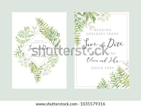 Wedding greenery diamond frame Save the date. Green leaves. Vector illustration. Floral arrangements. Forest foliage. Fern. Design template greeting card. Invitation background.