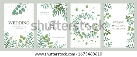 Wedding greenery posters. Elegant floral frames, rustic vintage borders of branches and leaves. Vector trendy elegance fashion invitation cards with minimalistic designs on white background