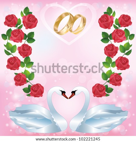 Wedding greeting or invitation card with pair of white swans, wedding rings, decorated ornament of red roses. Place for text. Vector illustration