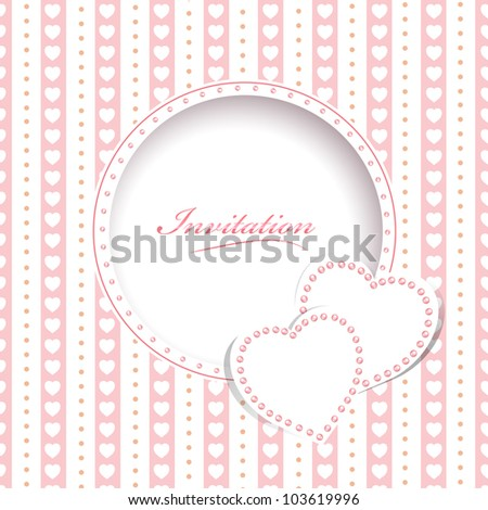 Wedding greetings or invitation card with hearts
