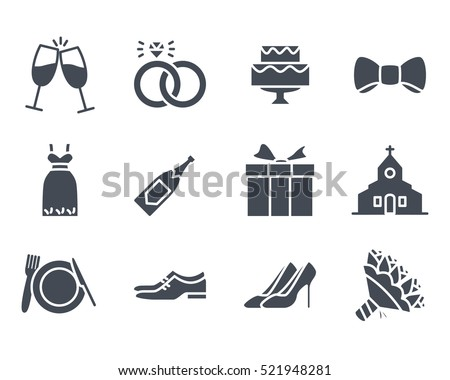 Wedding Icon Glyph Solid Vector Pack Set silhouette